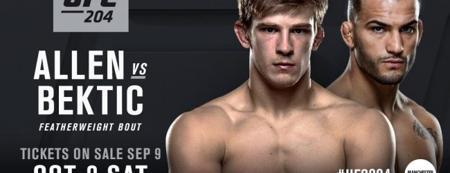 Arnold Allen vecht tegen Mirsad Bektic tijdens UFC 204 in Manchester