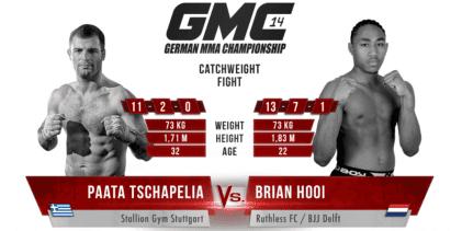 Brian Hooi treft Paata Tschapelia in last minute gevecht tijdens GMC 14