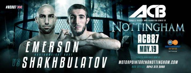 UFC veteraan Rob Emerson treft Shamil Shakhbulatov tijdens ACB 87 in Nottingham