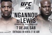Heavyweightclash tussen Francis Ngannou en Derrick Lewis tijdens UFC 226