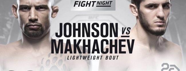 Lightweightclash tussen Islam Makhachev en Kajan Johnson tijdens UFC Calgary