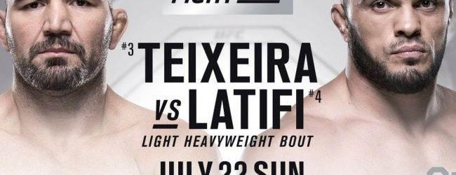 Glover Teixeira treft Ilir Latifi tijdens UFC Fight Night 134 in Hamburg