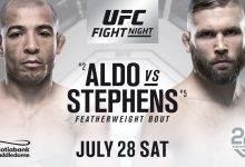 Jose Aldo en Jeremy Stephens treffen elkaar tijdens UFC on FOX 30 in Calgary