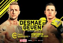 Donovan Desmae treft Hubert Geven tijdens Cage Warriors 94 in Antwerpen