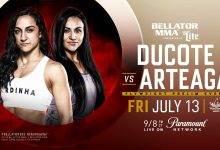 Emily Ducote treft Veta Arteaga tijdens Bellator 202 in Thackerville