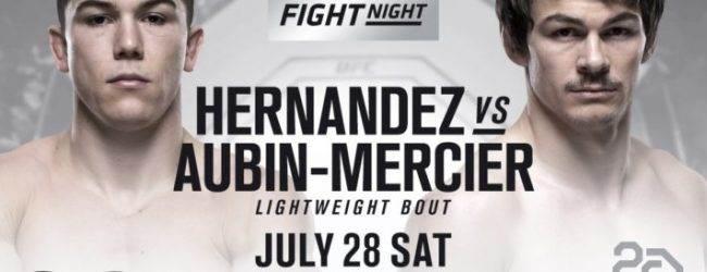 Alexander Hernandez ontmoet Olivier Aubin-Mercier tijdens UFC Calgary