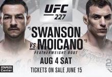 Cub Swanson treft Renato Moicano tijdens UFC 227 in Los Angeles