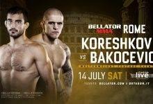 Andrey Koreshkov vs Vaso Bakocevic tijdens Bellator 203 in Rome