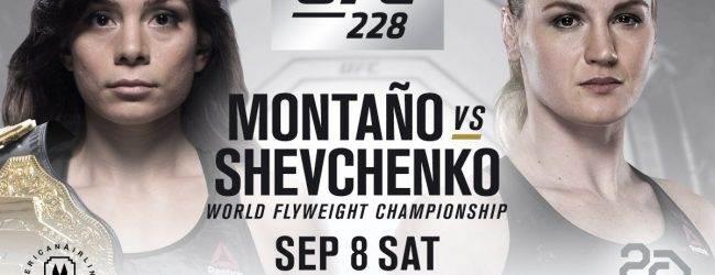 Nicco Montaño verdedigt Flyweight titel tegen Valentina Shevchenko tijdens UFC 228 in Dallas