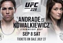 Jessica Andrade vs. Karolina Kowalkiewicz + nog drie gevechten voor UFC 228 in Dallas