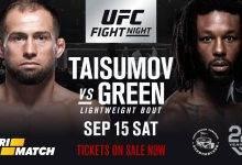 Mairbek Taisumov vecht tegen Desmond Green tijdens UFC Moskou