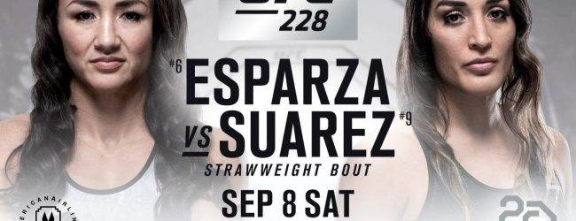 Strawweightclash tussen Carla Esparza en Tatiana Suarez tijdens UFC 228 in Dallas