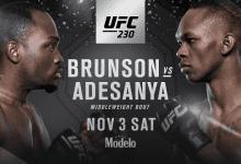 Derek Brunson treft de ongeslagen Israel Adesanya tijdens UFC 230 in New York