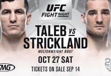 Welterweightclash tussen Nordine Taleb en Sean Strickland tijdens UFC Moncton