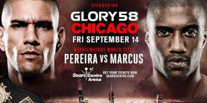 Alex Pereira vs. Simon Marcus 2 is het Main Event voor GLORY 58 in Chicago