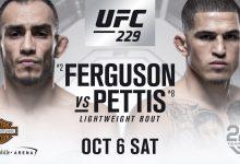 Tony Ferguson treft Anthony Pettis tijdens UFC 229 in Las Vegas