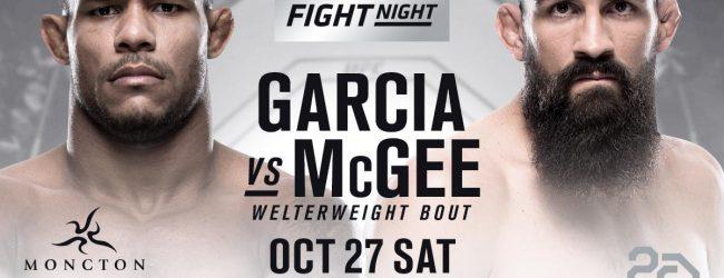 Welterweights Alex Garcia en Court McGee strijden tijdens UFC Moncton