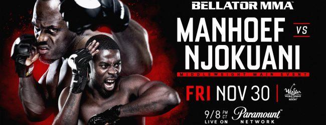 Melvin Manhoef vecht tijdens Bellator 210 tegen Chidi Njokuani
