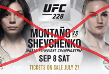 Nicco Montaño vs. Valentina Shevchenko is gecanceld voor UFC 228 in Dallas