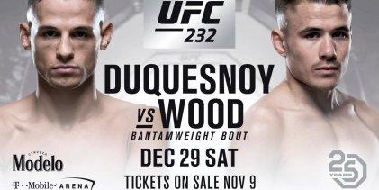 Europese clash tussen Nathaniel Wood en Tom Duquesnoy tijdens UFC 232 in Las Vegas