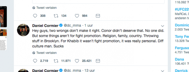 Vechters reageren op het het incident van UFC 229