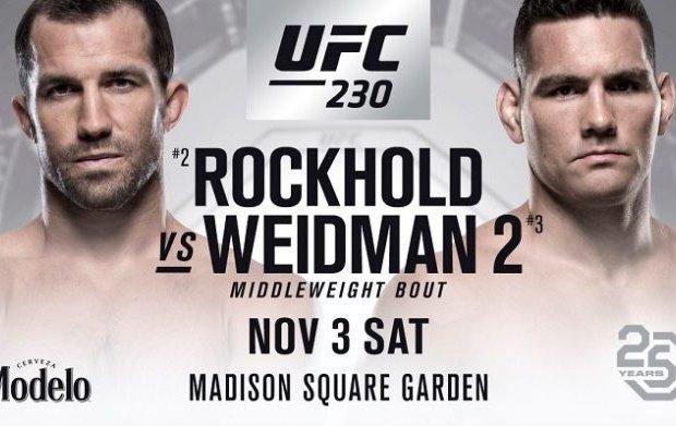 Co-Main Event tussen Luke Rockhold en Chris Weidman voor UFC 230 gecanceld