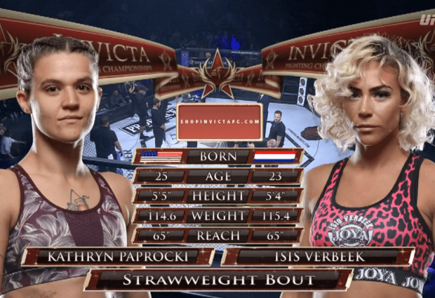 Isis Verbeek verliest MMA debuut tegen Kathryn Paprocki tijdens Invicta FC 32