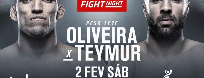 Lightweightclash tussen Charles Oliveira en David Teymur tijdens UFC Fortaleza