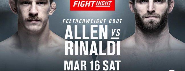 Thuisgevecht voor Arnold Allen tegen Jordan Rinaldi tijdens UFC Londen