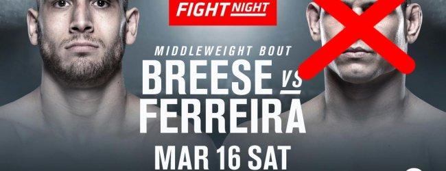 Tom Breese vs. Cezar Ferreira wederom gecanceld, ditmaal voor UFC Londen