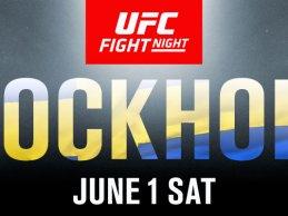 Lightweights Damir Hadzovic en Christos Giagos vechten tijdens UFC Stockholm