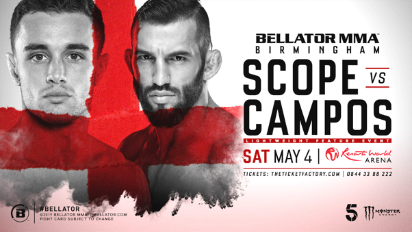 Ryan Scope treft Derek Campos tijdens Bellator European Series in Birmingham