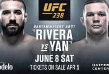 Jimmie Rivera ontmoet Petr Yan tijdens UFC 238 in Chicago