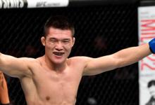 Team Alpha Male's Pingyuan Liu treft Jonathan Martinez tijdens UFC Sacramento