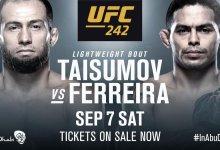 Knalpartij tussen Mairbek Taisumov en Carlos Diego Ferreira tijdens UFC 242 in Abu Dhabi