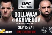 Omari Akmedov vecht voor eigen publiek tegen CB Dollaway tijdens UFC Moskou