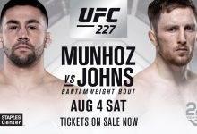 Bantamweight treffen tussen Pedro Munhoz en Brett Johns tijdens UFC 227