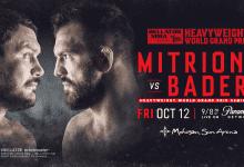 Matt Mitrione & Ryan Bader treffen elkaar in de Mohegan Sun Arena in Oktober