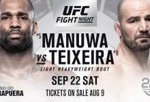 Glover Teixeira geblesseerd, Jimi Manuwa zonder tegenstander voor UFC São Paulo