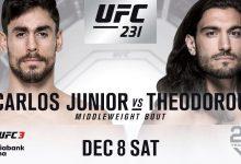 Gevecht tussen Antonio Carlos Junior en Elias Theodorou verplaatst naar UFC 231 in Toronto