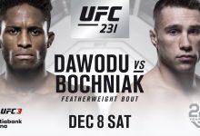 Canadees Hakeem Dawodu treft Kyle Bochniak tijdens UFC 231 in Toronto