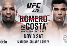 Yoel Romero vecht NIET tegen Paulo Costa tijdens UFC 230 in New York