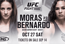 Bantamweight gevecht tussen Sarah Moras en Talita Bernardo tijdens UFC Moncton
