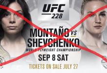 Nicco Montaño vs. Valentina Shevchenko is gecanceld voor UFC 228 in Dallas