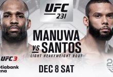 Jimi Manuwa en Thiago Santos alsnog tegen elkaar tijdens UFC 231 in Toronto