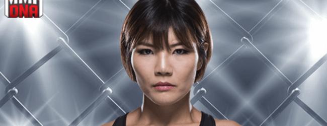 Ji Yeon Kim vervangt Ashlee Evans-Smith tegen Antonina Shevchenko tijdens de TUF 28 Finale