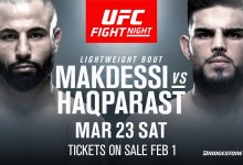 Lightweightclash tussen John Makdessi en Nasrat Haqparast tijdens UFC Nashville