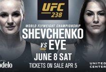 Valentina Shevchenko zet Flyweight titel op het spel tegen Jessica Eye tijdens UFC 238