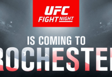 Light-Heavyweights Patrick Cummins en Ed Herman vechten tijdens UFC Rochester