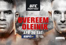 Uitslagen : UFC on ESPN+ 7 St.Petersburg : Overeem vs. Oleynik